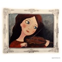 Kis hegedűs , Akcios ! Ingyenes posta!  Eredeti acrylic festmeny...