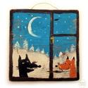 A róka meg a farkas , Ingyenes posta!   Egyedi rusztikus fa dekoracio. f...