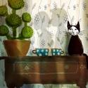 Kaktusz tea szerelem, INGYENES POSTA !  Sajat grafikamrol keszult nyomat...
