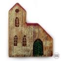 templom , Otthon & lakás, Karácsony, Dekoráció, Lakberendezés, Ünnepi dekoráció, egyedi rusztikus fa dekoracio.   kb 14 x 17 cm, 2.5 cm vastag.  Állodisz, nem akasztos.  A szinek el..., Meska