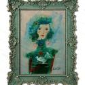 Két galamb, Otthon & lakás, Lakberendezés, Képzőművészet, INGYENES POSTA !  Eredeti akrilik festmenyem, faroston.  Meret : kb 17.5 x 26 cm. A keret csak illus..., Meska