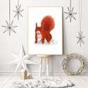 Piros mókus , Otthon & lakás, Gyerek & játék, Dekoráció, Gyerekszoba, INGYENES POSTA !  Sajat grafikamrol keszult nyomat. Meret : A4. Barmilyen szabvany A4-es keretbe pas..., Meska