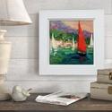 Piros vitorla, Otthon & lakás, Férfiaknak, Képzőművészet, Festmény, INGYENES POSTA !  Eredeti akrilik festmenyem, faroston. Meret : kb 23  x 23  cm. A szinek elterhetne..., Meska