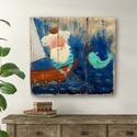 Az öreg halász és a tenger ,  Rusztikus fa dekoracio. falra akaszthato. A szine...