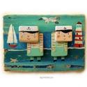 2 kis tengerész - fogas/akasztó, Egyedi, festett fa dekoracio, akaszto/fogas. kb. 2...