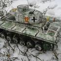 Fatank - Panzer III. Téli festés. 1/30, Játék, Fajáték, Famegmunkálás, Festett tárgyak, Egyedi készítésű, méretarányos, valósághű, strapabíró fatank  Második világháborús német Panzer III..., Meska