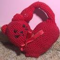 Szív alakú, masnis horgolt cica, Anyák napja, Szerelmeseknek, Játék, Játékfigura, Horgolás, Phildar Cotton2 100% pamut fonalból készítettem ezt a kedves piros cicát. A farka zselina szállal, ..., Meska