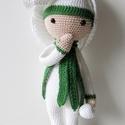 Hóvirág Hanna,a virágbaba, Baba-mama-gyerek, Játék, Dekoráció, Játékfigura, Horgolás, Hóvirág Hanna a Zabbez babák egyike, akit Bas den Barver holland tervező mintája alapján horgoltam ..., Meska
