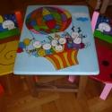 Mesefigurás asztal/szék szett (teljes kézi munka), Baba-mama-gyerek, Otthon, lakberendezés, Gyerekszoba, Gyerekbútor, Famegmunkálás, Festett tárgyak, Fából és újrahasznosított fából készülő egyedi gyerekszoba bútor! Egész kis kortól a suli kezdetéig..., Meska