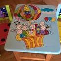 Mesefigurás asztal/szék szett, Otthon & Lakás, Bútor, Asztal, Festett tárgyak, Famegmunkálás, Egyedi ,teljes mértékben kézzel készült unisex asztalszett gyerekeknek! Fenyő ill.  nyír rétegelt l..., Meska