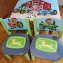 Farmos (traktoros) asztalszett gyerekeknek, Otthon & Lakás, Bútor, Asztal, Festett tárgyak, Famegmunkálás,  Egyedi ,teljes mértékben kézzel készült asztalszett gyerekeknek! Fenyő ill. nyír rétegelt lemez al..., Meska