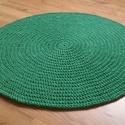 Horgolt kerek szőnyeg 3., Otthon, lakberendezés, Lakástextil, Szőnyeg, Kézzel horgolt, kör alakú szőnyeg. Puha tapintású, formatartó, vastagsága 1,2 cm. Színe: zöld. Méret..., Meska