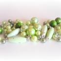 pisztácia fagyi mentaöntettel hosszú igényes zöld nyaklánc, Ékszer, Ékszerszett, Nyaklánc, amiből készült: -akril gyöngy -tekla gyöngy -ezüst színű pálca -ezüst színű lánc  hossz..., Meska