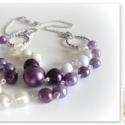 """lila és fehér (m)ámor rövid nyaklánc - \""""duplák\"""" kollekcióm, Ékszer, Ékszerszett, Nyaklánc, amiből készült: -akril gyöngy -tekla gyöngy -ezüst színű pálca -ezüst színű karika -ezü..., Meska"""