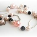 angyal és ördög - rózsaszín és fekete - hosszú nyaklánc, Ékszer, Ékszerszett, Nyaklánc, amiből készült: -tekla gyöngy -üveg gyöngy -akril gyöngy -ezüst színű pálca -ezüst szín..., Meska