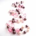 rózsaszín csokoládé karácsonyi ajándék nyaklánc, Ékszer, Ékszerszett, Nyaklánc, amiből készült: -akril gyöngy -tekla gyöngy -ezüst színű pálca  hossza: kb. 49cm(x2)  posta..., Meska