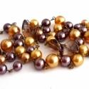 aranyló karácsonyi mese nyaklánc, Ékszer, Ékszerszett, Nyaklánc, amiből készült: -akril gyöngy -tekla gyöngy -üveg gyöngy -antik színű pálca  hossza: kb. 4..., Meska