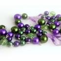 Lila Fenyő karácsonyi ajándék egyedi nyaklánc, Ékszer, Ékszerszett, Nyaklánc, amiből készült: -akril gyöngy -tekla gyöngy -üveg gyöngy -ezüst színű pálca  hossza: kb. ..., Meska
