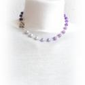 rövid egyszerű SMALL SINGLE lila nyaklánc - fciskaság, Ékszer, Nyaklánc, alapanyagok: - ezüst-antik színű pálca - szivecskés kapocs - 8mm-es cseh tekla gyöngy  nyaklá..., Meska