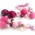 rózsaszín - málna BUBBLES fciskaság nyaklánc, Ékszer, Nyaklánc, alapanyagok: - sötét ezüst-antik színű pálca - 8-10-14mm-es cseh teklagyöngyök - akril gyön..., Meska