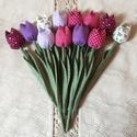 Textil tulipán / szett: 12 db/ ingyen ajándékkísérővel, Dekoráció, Csokor, Egyedi textil TULIPÁNOK eladók.   A csokor 12 szál tulipánt tartalmaz: - rózsaszín - fehér - lila - ..., Meska
