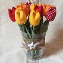 Textil tulipán /szett: 12 db/ ingyen ajándékkísérővel, Dekoráció, Csokor, Egyedi textil TULIPÁNOK eladók.   A csokor 12 szál tulipánt tartalmaz: - sárga - narancssárga - piro..., Meska