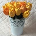 Textil tulipán / szett: 12 db/ ingyen ajándékkísérővel, Dekoráció, Csokor, Egyedi textil TULIPÁNOK eladók.   A csokor 12 szál tulipánt tartalmaz sárga-narancssárga árnyalatokb..., Meska