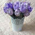 Textil tulipán / szett: 12 db/ ingyen ajándékcímkével, Dekoráció, Csokor, Egyedi textil TULIPÁNOK eladók.   A csokor 12 szál tulipánt tartalmaz: - fehér - lila árnyalatokban...., Meska
