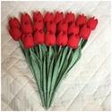 Textil tulipán /szett: 20 db/ ingyen ajándékkísérővel, Dekoráció, Csokor, Egyedi textil TULIPÁNOK eladók.   A csokor 20 szál piros tulipánt tartalmaz.  Gyönyörű dísze lehet o..., Meska