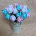 Textil tulipán / szett: 12 db/ ingyen ajándékkísérővel, Dekoráció, Csokor, Egyedi textil TULIPÁNOK eladók.   A csokor 12 szál tulipánt tartalmaz: - rózsaszín - fehér - türkiz ..., Meska