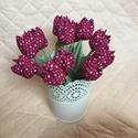 Textil tulipán / szett: 12 db/ ingyen ajándékkísérővel, Dekoráció, Csokor, Egyedi textil TULIPÁNOK eladók.   A csokor 12 szál bordó- apróvirágos tulipánt tartalmaz.  Gyönyörű ..., Meska