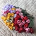 Textil tulipán / szett: 10 szál vegyesen/ ingyen ajándékkísérővel, Dekoráció, Csokor, Varrás, Egyedi textil TULIPÁNOK eladók.   A csokor 10 szál tulipánt tartalmaz vegyes összeállitásban.  Gyön..., Meska