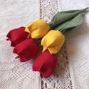 Textil tulipán /szett: 5 db/ ingyen ajándékkísérővel, Dekoráció, Csokor, Varrás, Egyedi textil TULIPÁNOK eladók.   A csokor 5 szál tulipánt tartalmaz: - 3 piros - 2 sárga  Gyönyörű..., Meska