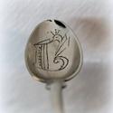 Kiskanál céges logoval, Konyhafelszerelés, Ötvös,  Ez az egyik legnépszerűbb kanalam, nem véletlenül:)  A szöveget egy antik alpakka kiskanálba kalap..., Meska