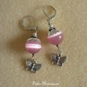 Rózsaszínű macskaszem pillangóval (fülbevaló), Az érdekesen fénylő 10 mm-es gyöngyöket antik...