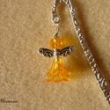 Tündér/angyal könyvjelző (sárga), Sárga, áttetsző akril gyöngyökből és fém k...
