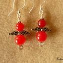 Angyal fülbevaló, nyers rubin, 8 és 10 mm-es  nyers rubin gyöngyökből készí...