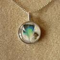 Madártollas nyaklánc (25 mm-es képpel)- ezüst színű, nikkelmentes, Tavaszias-nyárias hangulatú, üveglencsés nyakl...