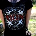 """""""HUN"""" női póló fekete-ezüst-piros, Ruha, divat, cipő, Női ruha, Felsőrész, póló, Festett tárgyak, Mindenmás, VÁSÁRLÁS ELŐTT AZ AKTUÁLIS KÉSZLETRŐL BELSŐ LEVÉLBEN ÉRDEKLŐDJ, KÉRLEK!  """"Fehérnép"""" termék, készen ..., Meska"""