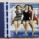 A három hintázó lány könyve, Naptár, képeslap, album, Jegyzetfüzet, napló, Decoupage, szalvétatechnika, Könyvkötés, Kézzel, cérnára fűzött fehér lapokkal készült (üres lapos) könyv  Mérete: 18*14 cm Oldalszám: 200  ..., Meska