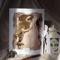 Kalitkás hölgy, Naptár, képeslap, album, Jegyzetfüzet, napló, Kézzel, cérnára fűzött antik árnyalatú lapokkal készült (üres lapos) könyv  Mérete: 21*2..., Meska