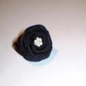 LEÁRAZÁS! Little black rose, Ékszer, Gyűrű, Antikolt hatású bronz gyűrűalapra varrtam ezt a fekete szatén rózsát. Közepén apró gyöngy..., Meska