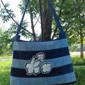 Farmer válltáska fülbevalóval / szett/, Táska, Válltáska, oldaltáska, Sötét és világos színű farmer anyagból készítettem táskát. Elejét selyemből készült v..., Meska