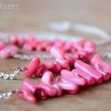 Rózsa korall szett, Rózsaszín korallból készült három részes sz...