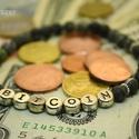 Bitcoin Serpentin férfi karkötő matt zöld ásvány gyöngyökből gumis Bitcoin felarattal Egyedi ajándék férfiaknak, Ha mond neked valamit az a szó, hogy Bitcoin, akk...