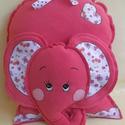 Lazacszínű elefánt-párna, Baba-mama-gyerek, Dekoráció, Játék, Otthon, lakberendezés, Varrás, Hímzés, Lányoknak kedves ajándék lehet ez az elefánt párna. Párna és játék egyben. Kézzel szabott és hímzet..., Meska