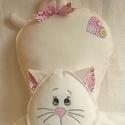 Cica párna pink mandala mintás-párna, Dekoráció, Otthon, lakberendezés, Lakástextil, Párna, Kedves ajándék lehet ez a fehér cica párna. Díszítése mandala mintás pamutvászon. Kézzel szabott és ..., Meska