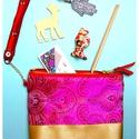 ' Visnu' brokát pink / arany erszény /neszesszer, Táska, Neszesszer, Pénztárca, tok, tárca, Erszény, Elegáns, extravagáns  make-up bag / tárca/erszény / neszesszer / pénztárca, bármi-tok fém zi..., Meska
