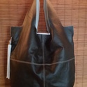 Barna shopper, Táska, Ezt a táskát egy finom sötét barna borjú box bőrből készítettem amit világos bés belső résszel kombi..., Meska