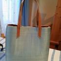 Selymes zőldes shopper, Táska, Válltáska, oldaltáska, A képen látható női táskát egy vasteselymes agyagból készítettem ami kivan erősítve így igazán pakol..., Meska